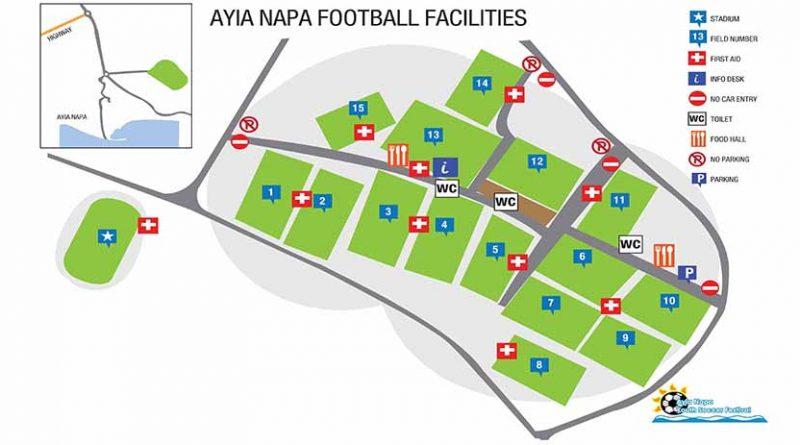 Χάρτης Γηπέδων Ayia Napa Soccer Festival